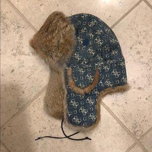 New Guess fur trapper hat denim vintage logo flaps